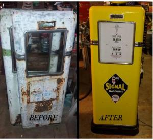 Before and after photo of a restored vintage Bowser gasoline pump.