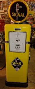 Photo of a restored vintage Bowser gasoline pump.