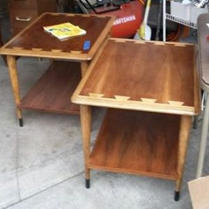 Photo of pair of restored Lane Acclaim Series end tables.
